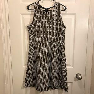 LOFT sleeveless black/white fit and flare dress